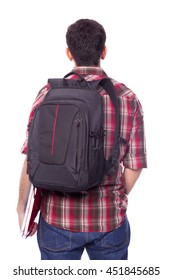 Rear view of a male student, isolated on white background