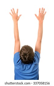 Rear View of the Man with Hands Up Isolated on the White Background