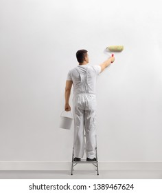 Rear view of a man painting a wall on a ladder isolated on white background