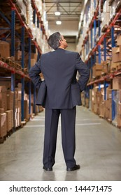 Rear View Of Manager In Warehouse