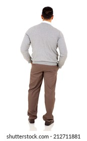 rear view of middle aged man isolated on white background