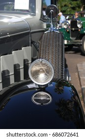 Rear view mirrors of vintage cars in an exhibition, antique car rally,