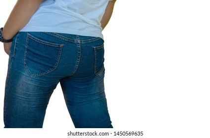 Rear view of the model wearing jeans,isolated on white background with clipping path