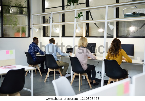 Rear view of multi-ethnic business people in casual clothing sitting at desks with computers and working with information, people in row