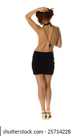 rear view of a perfect bodied woman over white