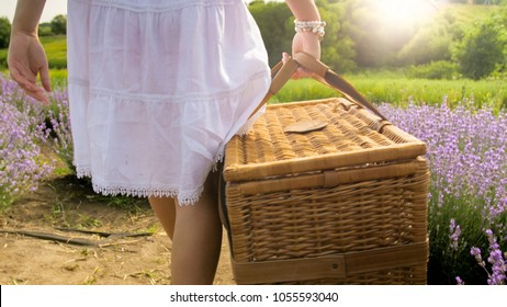 Rear view photo of young woman carrying big wicker basket for picnic in field