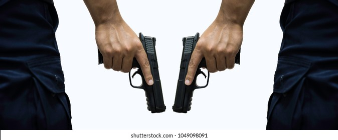 Rear view of policeman or gangster holding a gun in hand with isolated white background.