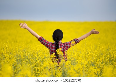 Rear view of pretty young woman with braid in black hair standing with raised arms in yellow rapeseed field. Freedom and enjoying in nature concept
