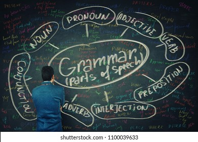 Rear view of a puzzled student in front of a huge blackboard written with chalk english grammar parts of speech. Opportunity for learning system and structure of a language.