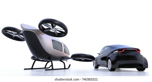 Rear view of self-driving car and passenger drone parking on the ground. 3D rendering image