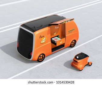 Rear view of self-driving pizza delivery parking side of road. Last one mile concept. 3D rendering image.