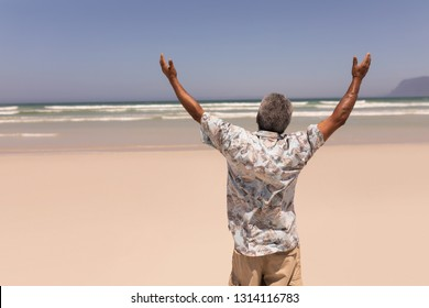 Rear view of senior black man with arms outstretched standing on beach in the sunshine