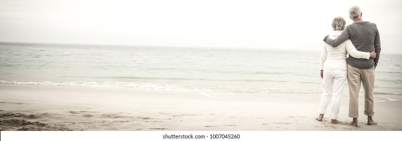 Rear view of senior couple embracing at beach on sunny day