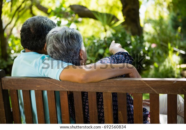 Rear view of senior couple pointing to a distance in garden