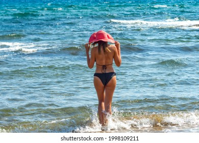 rear view of a sexy woman in black bikini and red hat entering at the waters of a  tropical beach
