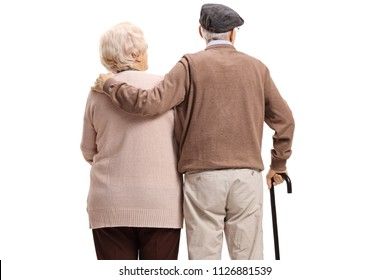 Rear view shot of an elderly couple isolated on white background