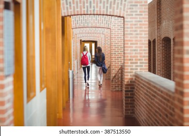 Rear view of students in the hallway at university