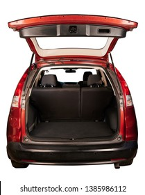 Rear view of SUV red car with open trunk isolated