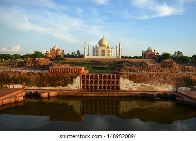 The rear view of the Taj Mahal, viewed from the opposite side of the Yamuna River