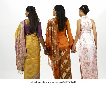 rear view of three women
