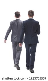 rear view. two businessmen confidently stepping forward