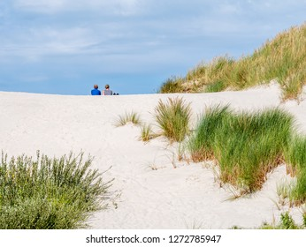 Rear view of two people sitting together relaxing on sand dune in nature reserve Het Oerd on West Frisian island Ameland, Friesland, Netherlands