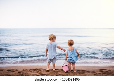 Rear view of two toddler children playing on sand beach on summer holiday.