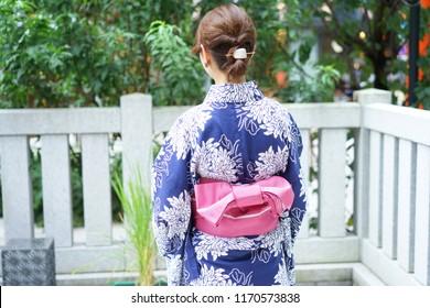 Rear view of wearing yukata