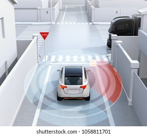 Rear view of white SUV in one-way street detected vehicle in the blind spot. Stop sign in Japanese.  left-hand traffic region. Connected car concept. 3D rendering image.
