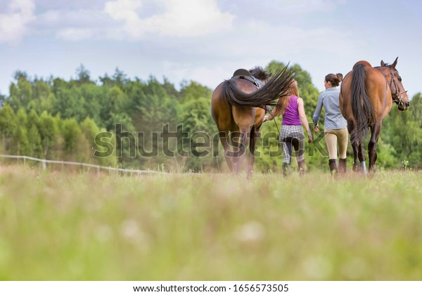 Rear view of  women walking while talking with their horses in ranch