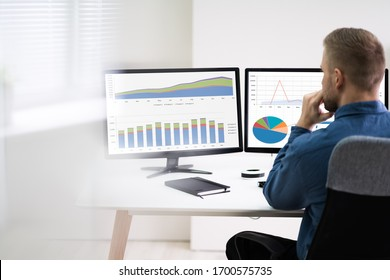 Rear View Of Young Businessman Looking At Graph On The Computers In The Office