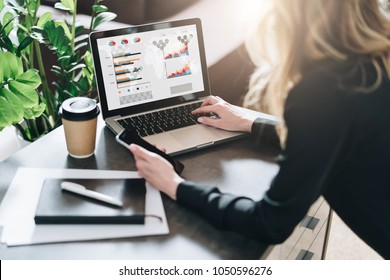 Rear view. Young businesswoman is sitting at table, working on laptop with graphs, charts, diagrams, schedules on screen. Online marketing, education, analytics, e-commerce, business planning
