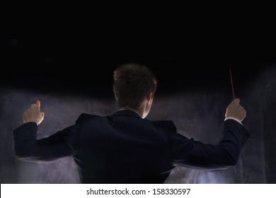 Rear view of young conductor with baton raised at performance