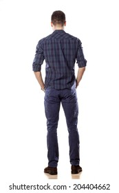 rear view of a young man in jeans