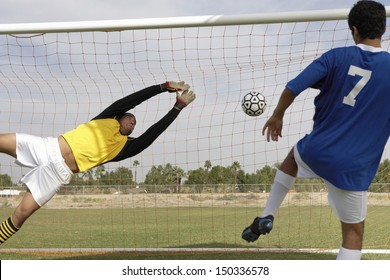 Rear view of young player scoring goal while goalkeeper diving to save it