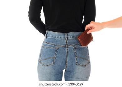 Rear view of a young slim female in jeans as symbol for the danger of pickpocketing