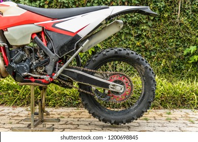 Rear wheel enduro motorcycle. Extreme sport concept.