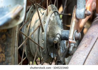 Rear wheel hub with spoke of vintage Japanese motorcycle