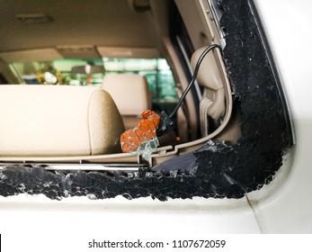 Rear windscreen of car broken