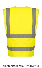 Rear of a yellow reflective safety vest.