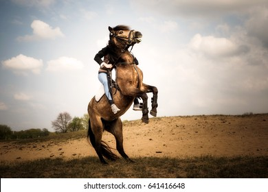 rearing horse with rider