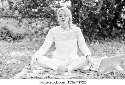 Reasons you should meditate every day. Find minute to relax. Clear your mind. Girl meditate on rug green grass meadow nature background. Every day meditation. Woman relaxing practicing meditation.