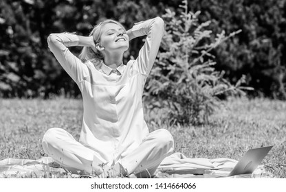 Reasons you should meditate every day. Clear your mind. Girl meditate on rug green grass meadow nature background. Find minute to relax. Woman relaxing practicing meditation. Every day meditation.