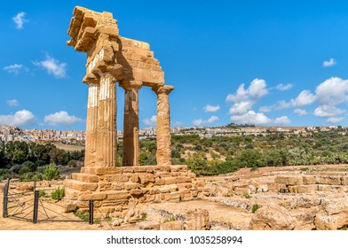 The re-assembled remains of the Temples of Castor and Pollux, located in the park of the Valley of the Temples in Agrigento, Sicily, Italy