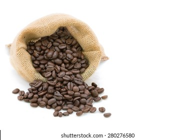 Reasted coffee bean in bag with whith white isolated background