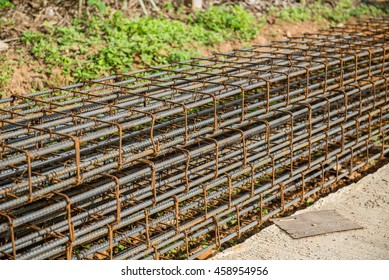 rebar and formwork for beam and column in construction site