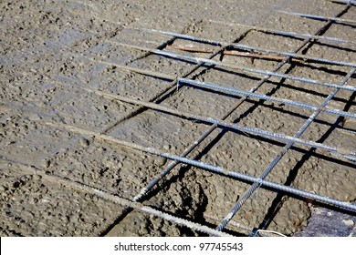 Rebar grids in a concrete floor during a pour