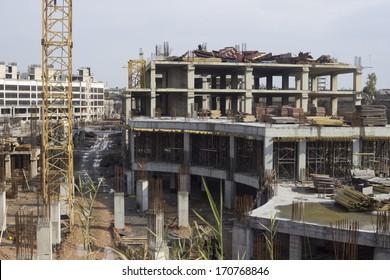 Rebar reinforcing bar in an iraqi construction site