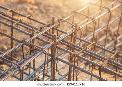 Rebar steel for Grade Beam/Ground beam in process of house building. Construction of reinforced concrete foundation beam