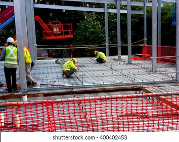 Rebars Are Laid. Shear Studs Are Welded To The Top Flange Of The Steel  Section
